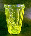 Grape Pattern Vaseline Glass Tumbler