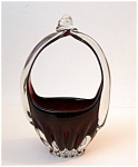 Ruby Art Glass Basket