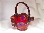 Fenton Red Carnival Stretch Glass Basket