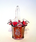 Handpainted Cranberry Glass Basket