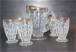 Gold Trimmed Pitcher , 5 Tumblers