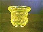 Vaseline Glass Holly Pattern Toothpick Holder