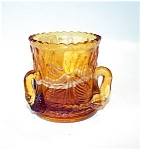 3 Swan Amber Slag Toothpick Holder