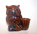 Brown Pottery Owl Toothpick Holder