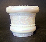 Irridized Holly Band Milk Glass Toothpick Holder