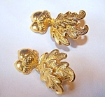 Goldtone Pierced Earrings, Acorn