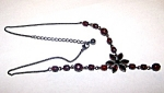 Silvertone Chain, Red Ruby Beads Necklace