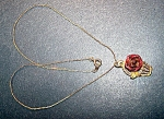 Red Metal Rose, Goldtone Necklace
