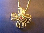 Necklace, Goldtone Fine Mesh Bow, Rhinestone Sets