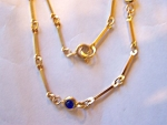 Necklace, Delicate Goldtone Chain, Black/dk. Blue Setti
