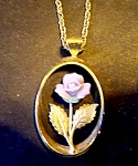 Lavender Rose Necklace, Goldtone Chain