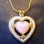 Pink Glass Heart, Faux Seed Pearls, Goldtone Chain