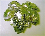 Silvertone Metal Grape And Leaf Brooch