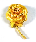 Gold Tone Rose Lapel Pin, Brooch
