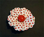 Metal Enamelled Brooch, Pin. Red On White