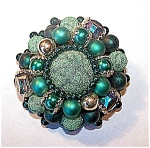 Green Stones, Beaded Brooch