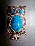 Owl Brooch, Pin. Silvertone, Turquoise