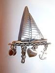 Sailing Ship Brooch, Pin,, Charms