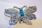 Butterfly Brooch, Pin. Silvertone Metal, Faux Turquoise