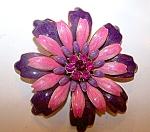 Pink, Magenta , Lavender Enameled Flower Brooch