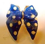 Blue Polka Dot Enameled Brooch, Pin