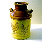 Milk Can Pottery Container, Chicken Decorated