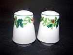 Holly Decorated Salt Pepper Shakers