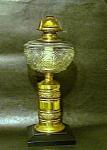 Cast Iron, Crystal, Brass Oil Lamp