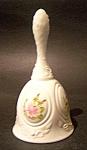 White Milk Glass Bell, Cameo Handpainted