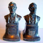 Vintage Bookends, Lincoln, Silverplate