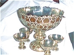 Enameled Brass Punch Bowl And 12 Cups And Lad