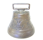 Vintage Brass Bell Embossed Eagle