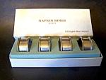 Set Of 4 Silverplate Napkin Rings, Original Box