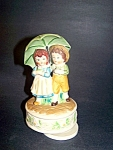 2 Children Under Umbrella Music Box