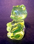 Fenton Vaseline Glass Sitting Bear Figurine