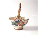 Pottery Basket, Wicker Handle