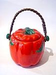 Cookie Jar, Wicker Handle, Occupied Japan