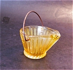 Amber Glass Scuttle Ashtray