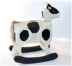 Wood Cow Pull Toy, Folk Art