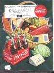 Coca Cola Ad Sheet With Basket Of Food