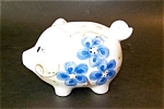 Piggy Bank, Blue Decorated
