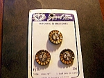 3 Buttons On Orig. Card. Rhinestone Centers