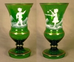 Matched Pair Of Green Mary Gregory Vases