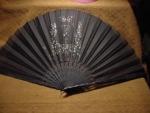 Victorian Black Sheer Sequinned Fan