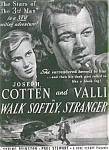 Joseph Cotten & Valli Movie Ad Sheet