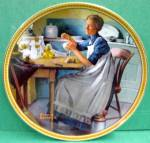 Norman Rockwell Plate 'working In The Kitchen'