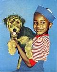 1950s Calendar Print African American Child W/ Dog