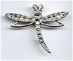 White Rhinestone Dragonfly Brooch Pin