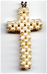 Faux Pearl Cross Design Beaded Pendant