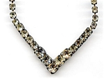 White Rhinestone Chevron Design Necklace
